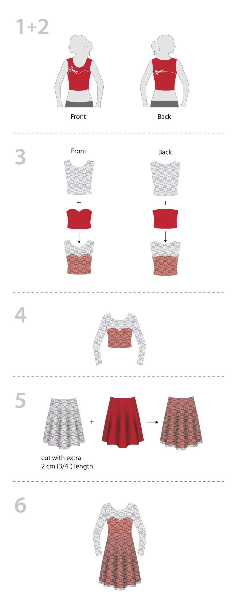 pattydoo sewing tutorial for lace jersey party dress