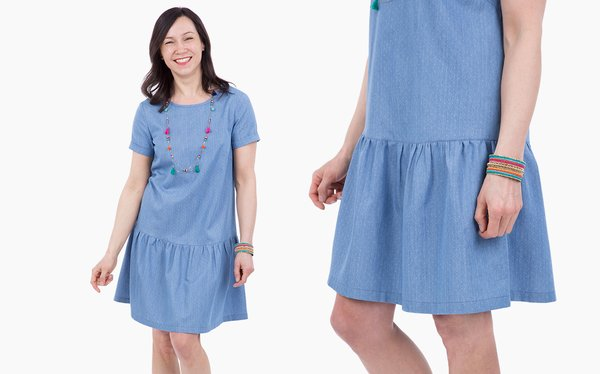 Schnittmuster Bluse/Kleid Alliee als Kleid genäht aus Jeans-Chambray