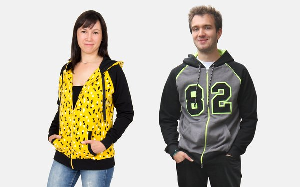 sewing pattern zip up hoodie for men and women