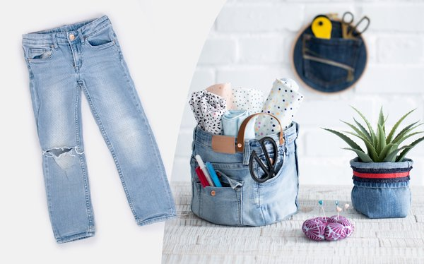 Anleitung Jeans Upcycling Stoffkorb nähen