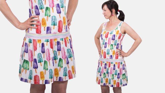 Kleid mit angesetztem rock nahen