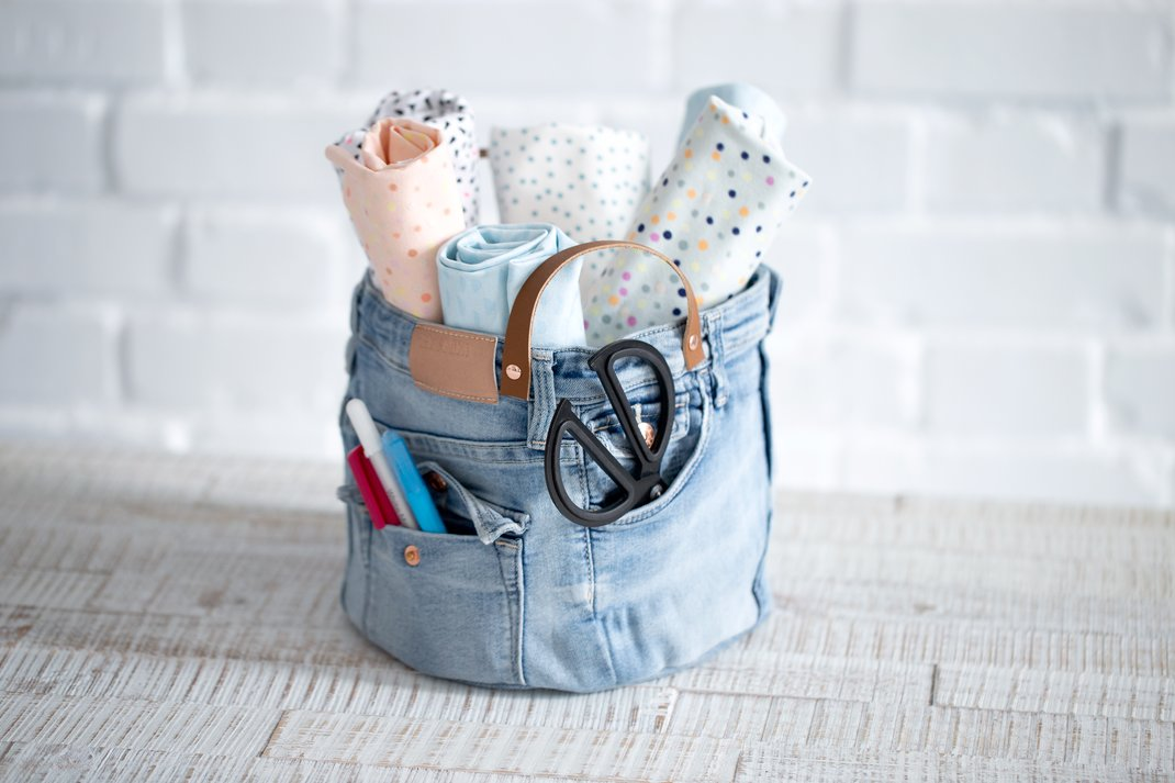 Stoffkorb Utensilo Anleitung Jeans Upcycling