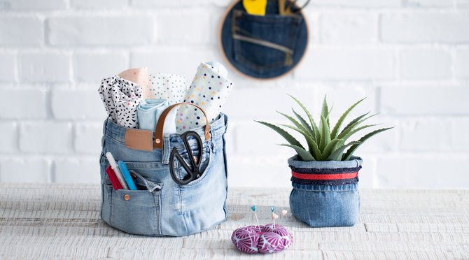 Stoffkorb Jeans Upcycling Anleitung selbermachen