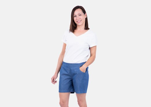 Schnittmuster DIY Anleitung Sommershorts Jeanslook