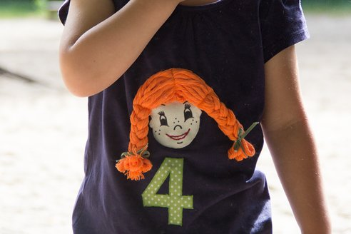 Kindershirt mit Pippi Langstrumpf Applikation