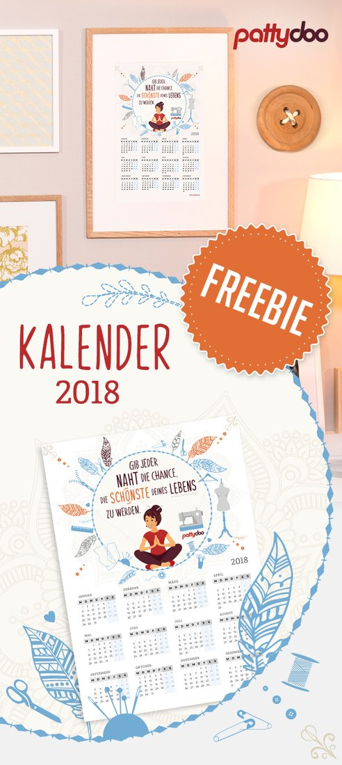 Kalender 2018 Freebie printable pattydoo