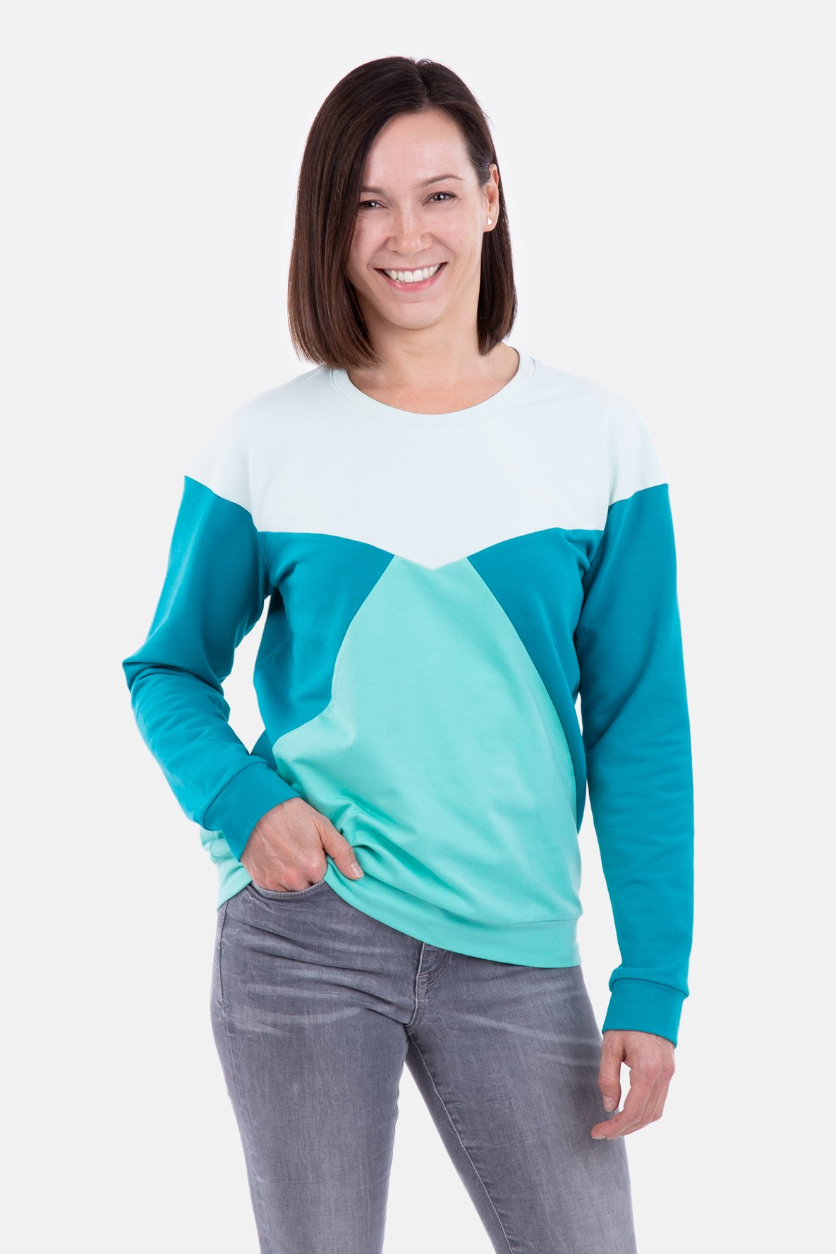 Sewing Pattern Sweatshirt Pullover Colourblock mint fabric