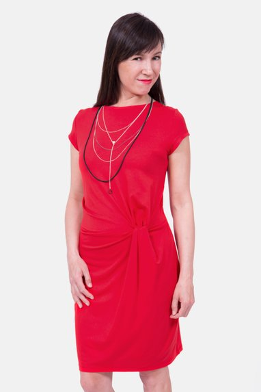Schnittmuster Anleitung Knotenkleid rot chic