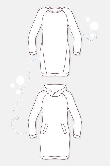 Hoodie-Sweatkleid mit Bündchen und Leistentaschen | Pattydoo