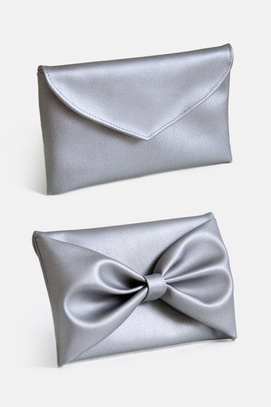 sewing pattern instruction bag clutch bow silver imitation leather