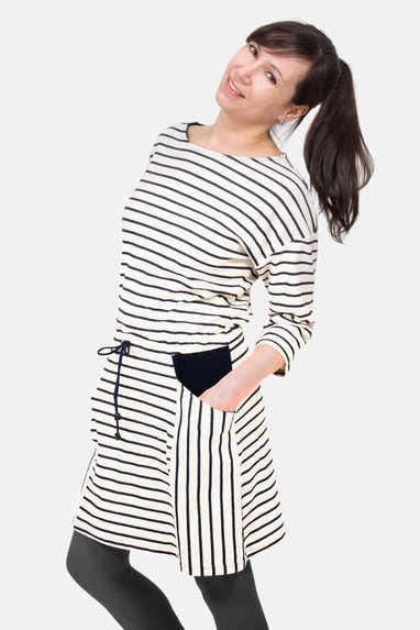 striped pattern sewing dress striped