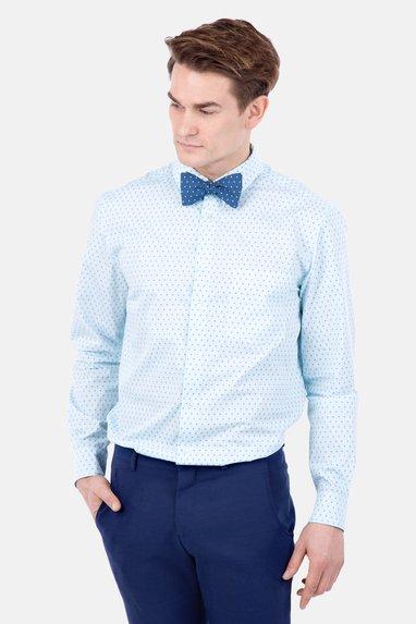 b854ab9e86 Schnittmuster Herrenhemd elegant Fliege hellblau Nähanleitung