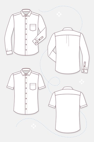 88a9cc15d7 ... Schnittmuster Herrenhemd Manschetten Kragen varianten zeichnung ...