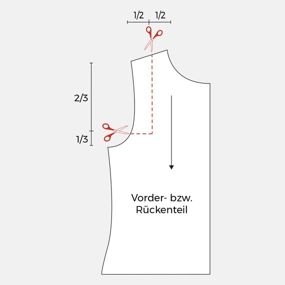 Schnittmuster Schulter anpassen Schnittteil einschneiden